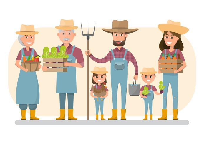 personnage de dessin animé famille agriculteur heureux dans une ferme rurale biologique. vecteur
