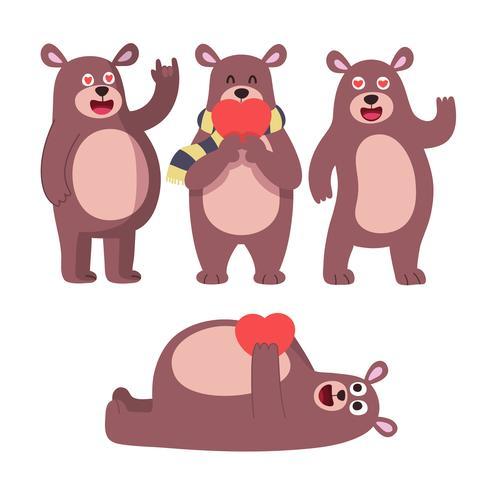 Ours mignon pose. Jouets de garçon mignon nounours animaux pour enfants anniversaire cadeaux de Saint-Valentin ou vector set de personnages Peluche jouet animal, ours caractère heureux illustration