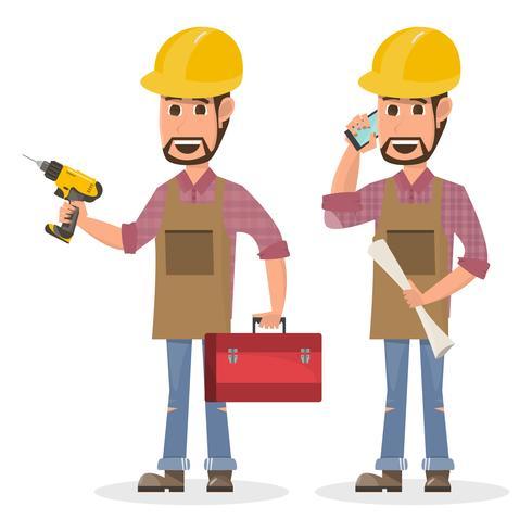 architecte, contremaître, ouvrier du bâtiment en génie à caractère différent vecteur