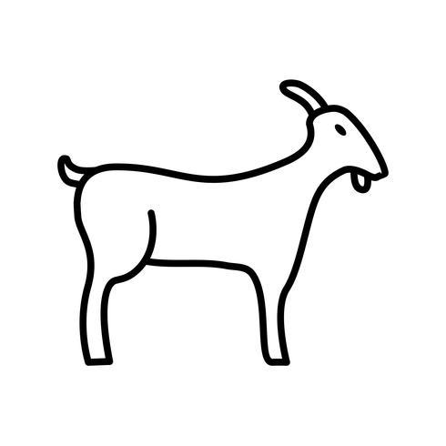 Icône de chèvre ligne noire vecteur