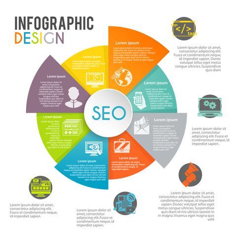 Infographie de marketing Internet de référencement vecteur