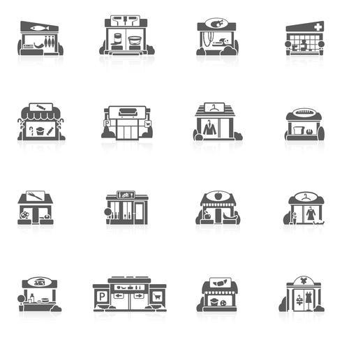 Ensemble de bâtiments de magasin vecteur
