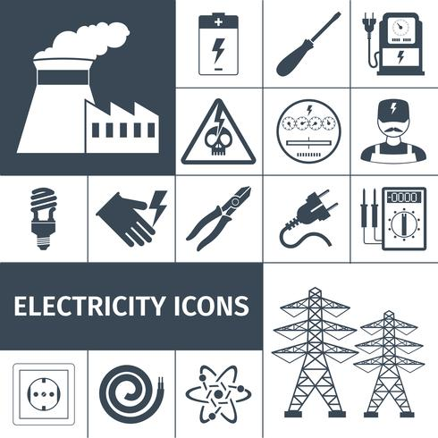 Électricité Icons Black Set vecteur
