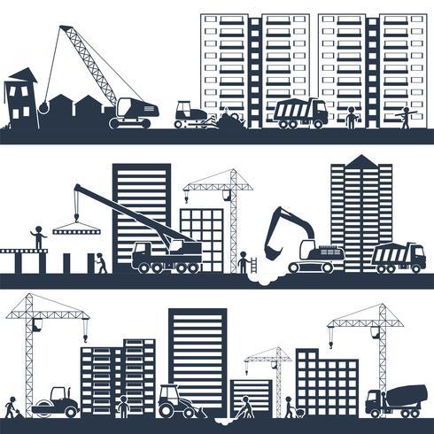 Composition de construction noir vecteur
