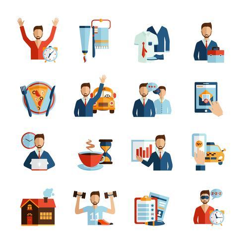 icônes de la routine quotidienne de l'homme vecteur