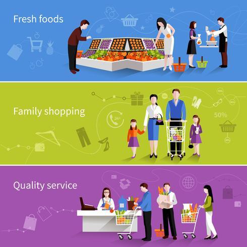 Bannières de gens de supermarché vecteur