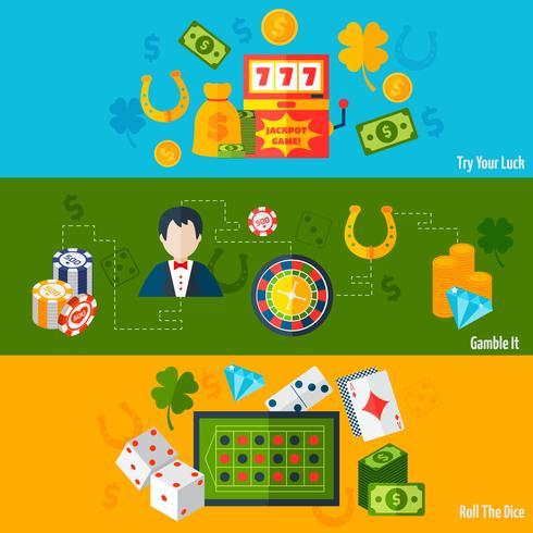 Bannières Plates Casino vecteur
