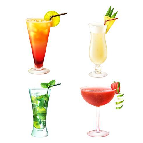 Ensemble réaliste de cocktail vecteur