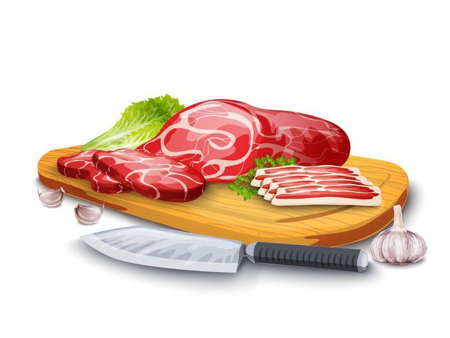 Viande à bord vecteur