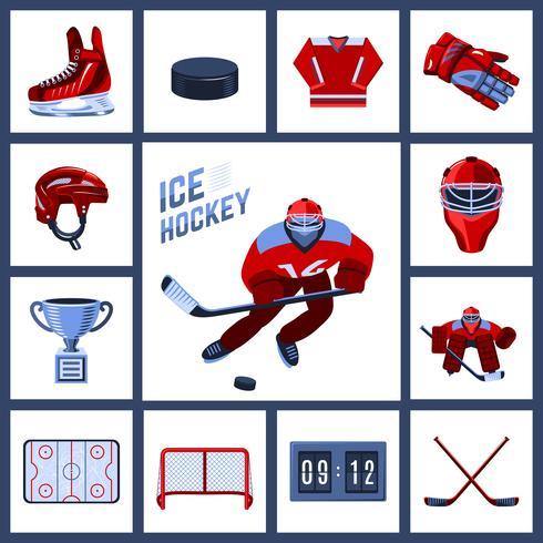 Jeu d'icônes de hockey vecteur