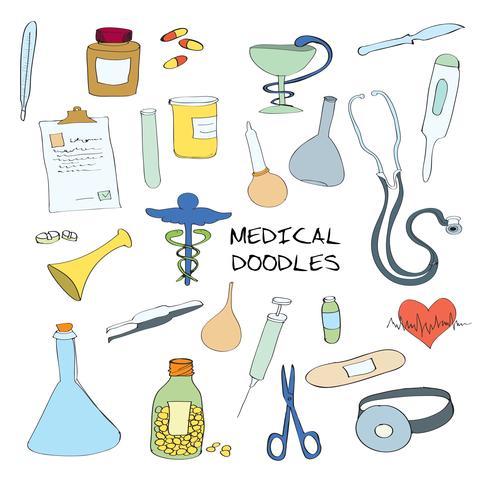 Ensemble de griffonnage d'emblèmes de symboles médicaux vecteur