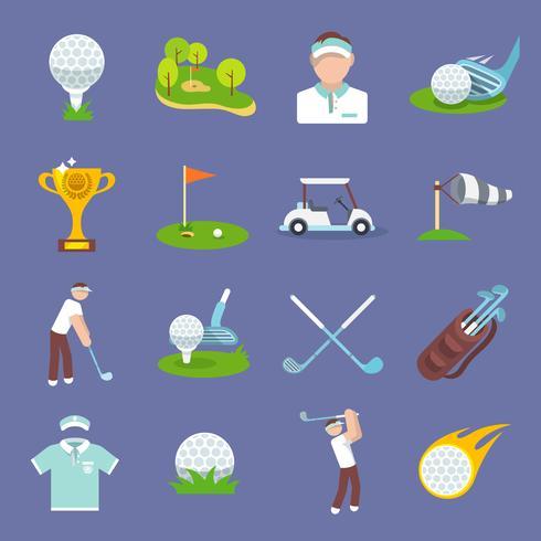 icône de golf plat vecteur