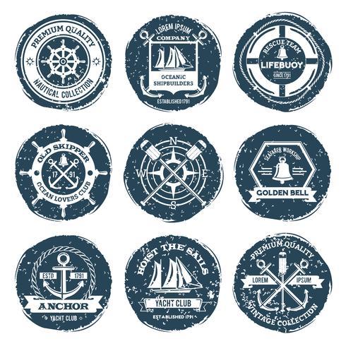 Étiquettes et timbres nautiques vecteur