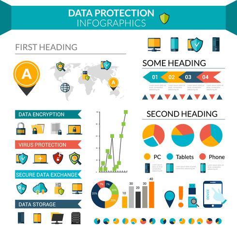 Infographie sur la protection des données vecteur