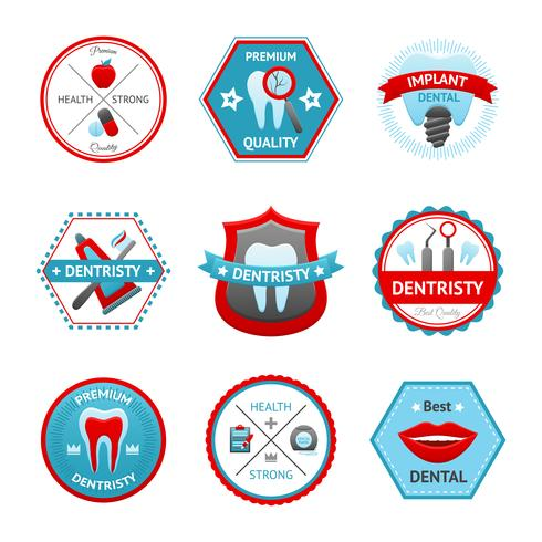 Ensemble d'emblème dentaire vecteur