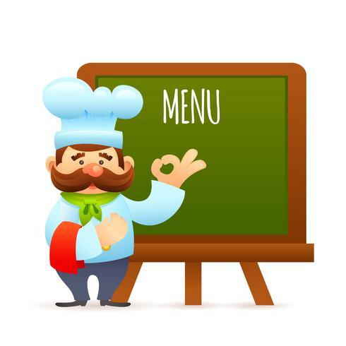 Chef avec tableau de menu vecteur