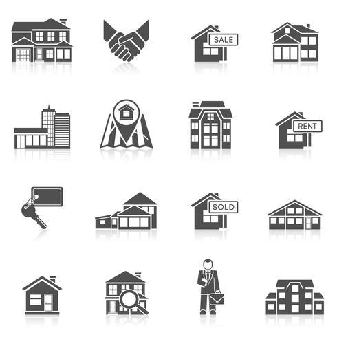 Jeu d'icônes de l'immobilier vecteur