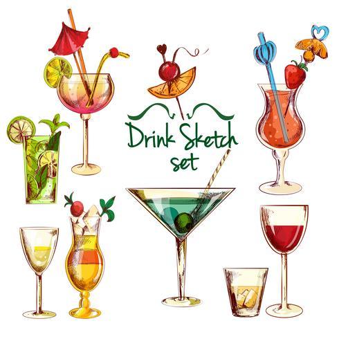 Set Cocktail Croquis vecteur