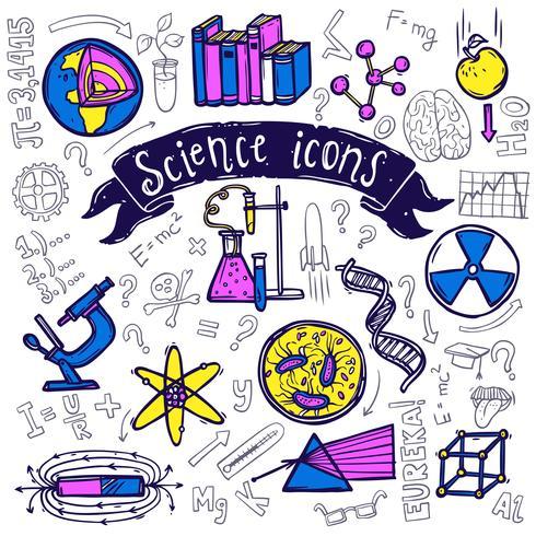 Icônes de symboles scientifiques doodle croquis vecteur