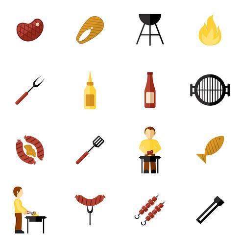 bbq grill icon flat vecteur