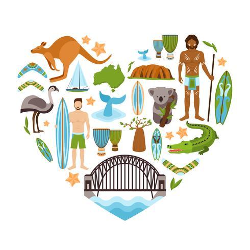 Australie en forme de coeur vecteur