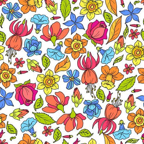 Motif de fleurs colorées vecteur
