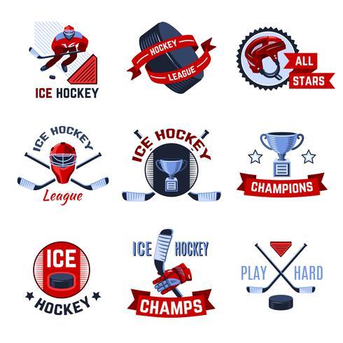 Ensemble d'emblèmes de hockey vecteur