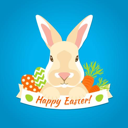 Étiquette de Pâques lapin vecteur
