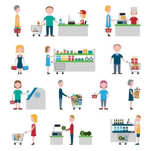 Ensemble de gens de supermarché vecteur