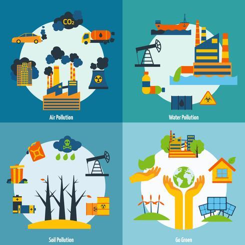 Ensemble pollution et écologie vecteur
