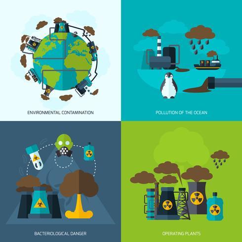 icône de la pollution plat vecteur