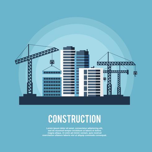 Affiche de l'industrie de la construction vecteur