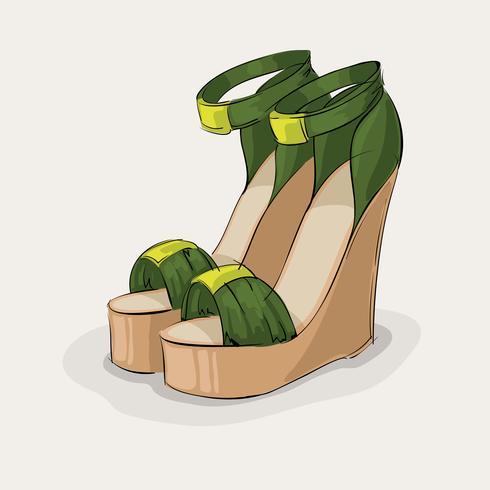 Sandales vertes de luxe vecteur