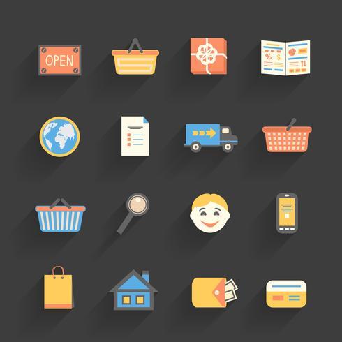 Icônes de dessin animé définies pour la boutique en ligne vecteur