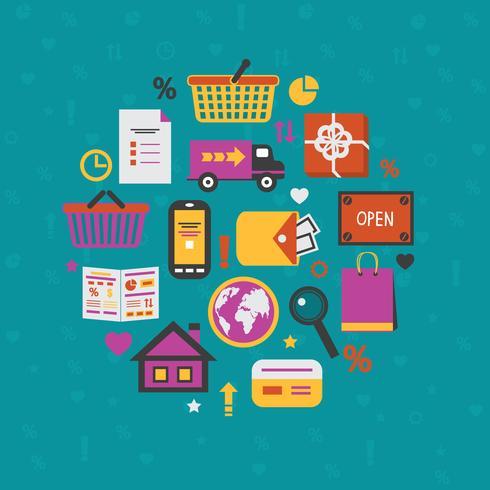 Internet shopping set d'icônes vecteur