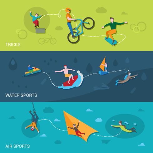Bannières de sports extrêmes vecteur