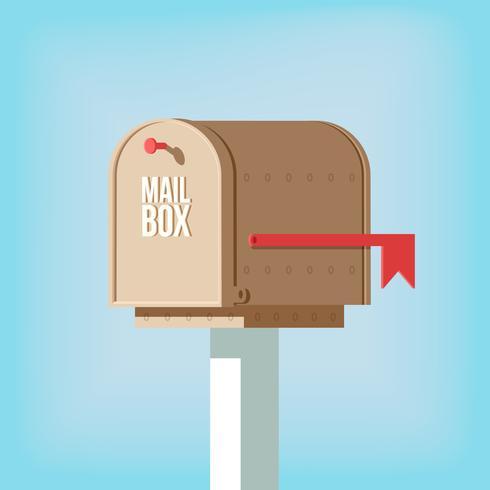 Boîte aux lettres sur poteau avec drapeau rouge vecteur