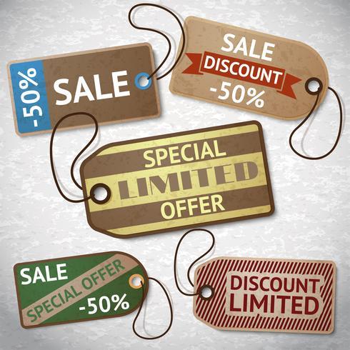 Collection d'étiquettes de vente en carton discount vecteur