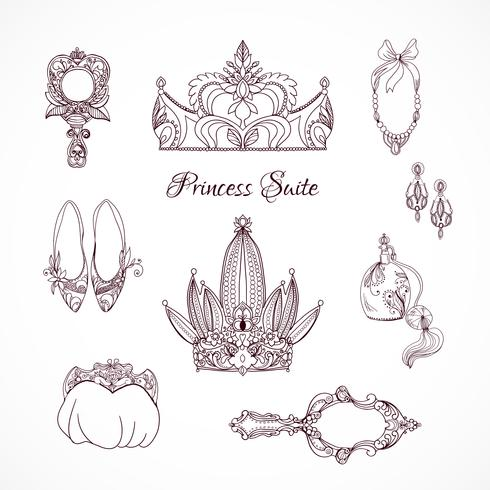 Éléments de conception princesse vecteur