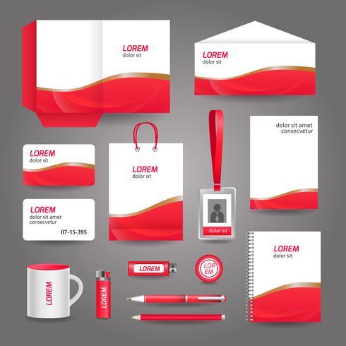 Modèle de papeterie d'affaires abstrait ondulé rouge vecteur