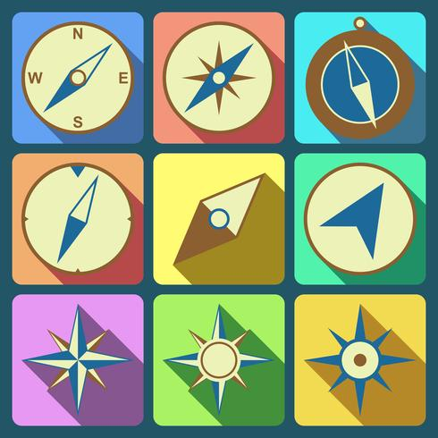 Ensemble d'icônes plat navigation compas vecteur