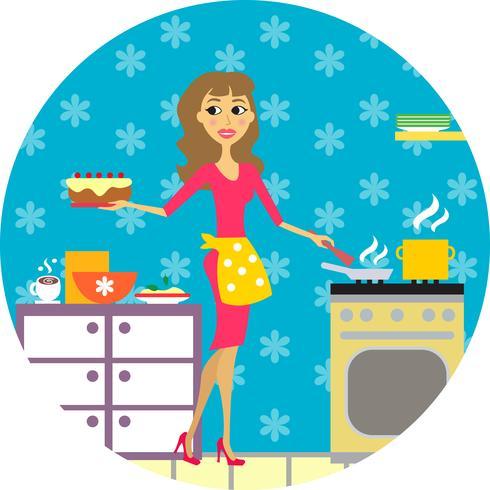 femme cuisine en cuisine vecteur