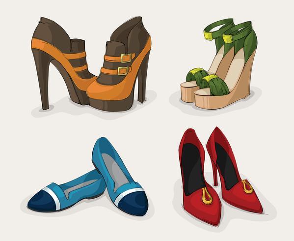 Collection de chaussures mode femme vecteur
