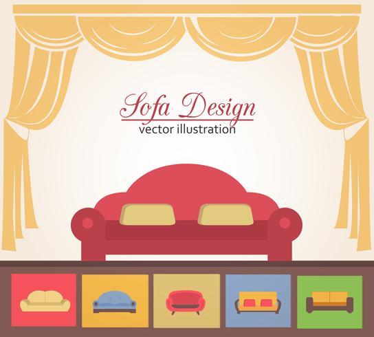 Éléments d'affiche pour la conception d'un canapé ou d'un canapé vecteur