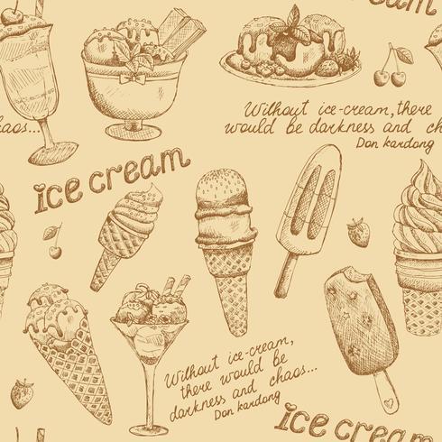 Modèle vintage de crème glacée vecteur