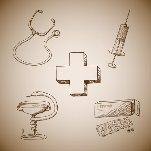 Collection de symboles médicaux vecteur