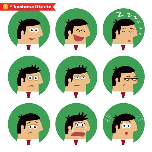 Émotions faciales d'affaires vecteur