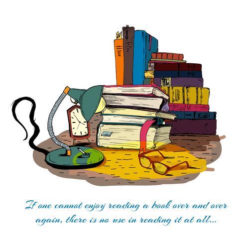 Livres, lecture, toujours, vie vecteur