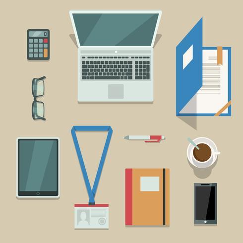 Poste de travail avec appareils mobiles et documents vecteur