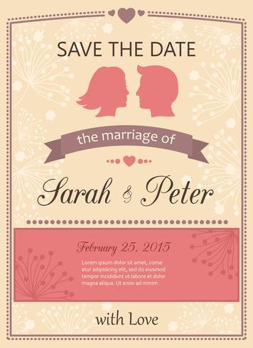 Réservez la carte d'invitation de mariage de date vecteur